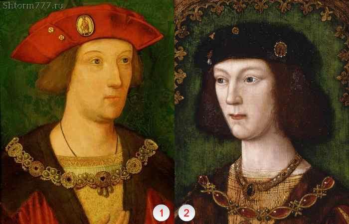 Сыновья Генриха VII: 1) Артур Тюдор; 2) Генрих VIII.
